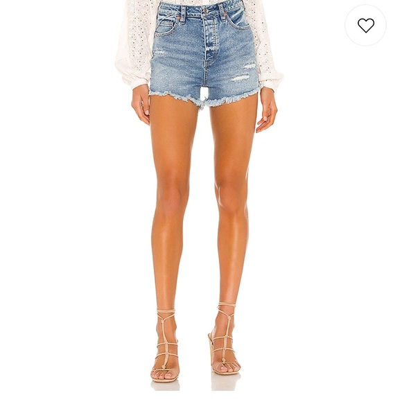 Free People CRVY high rise jean shorts